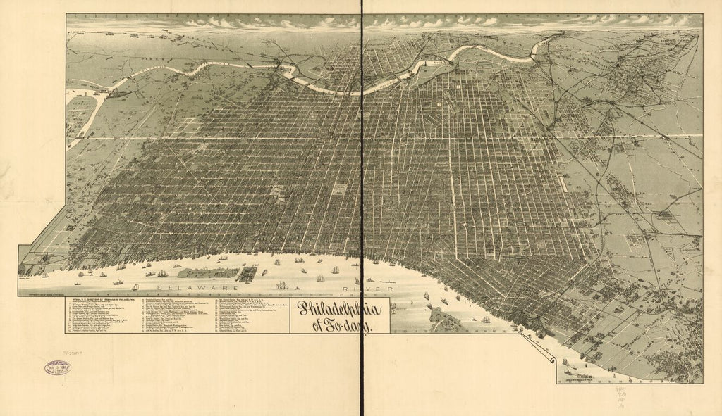 8 x 12 Reproduced Photo of Vintage Old Perspective Birds Eye View Map or Drawing of: Philadelphia of to-day. Burk & McFetridge 1887