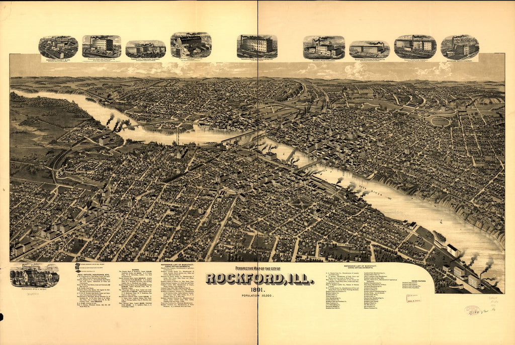 8 x 12 Reproduced Photo of Vintage Old Perspective Birds Eye View Map or Drawing of: Rockford, Ill. 1891. NONE 1891