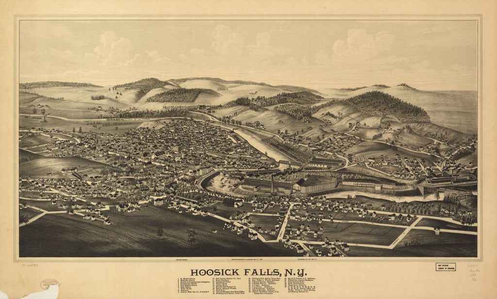 8 x 12 Reproduced Photo of Vintage Old Perspective Birds Eye View Map or Drawing of: Hoosick Falls, N.Y. Burleigh, L. R. (Lucien R.) - Burleigh Litho - Burleigh, L. R. 1889