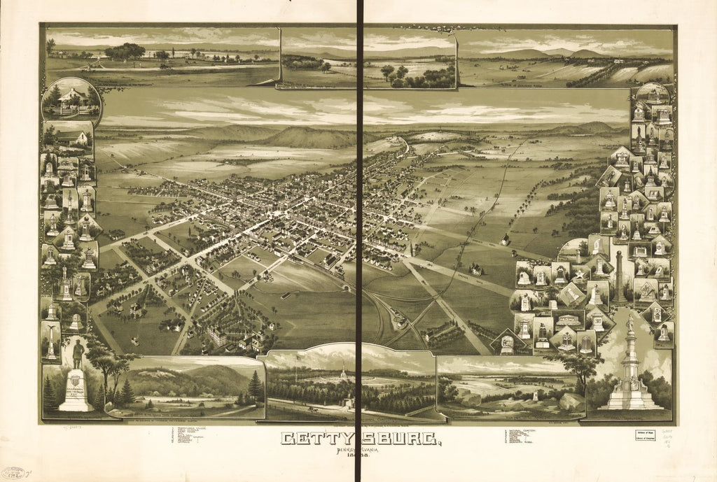 8 x 12 Reproduced Photo of Vintage Old Perspective Birds Eye View Map or Drawing of: Gettysburg, Pennsylvania 1888. Fowler, T. M. - Downs, A. E. (Albert E.) - Fowler, T. M. 1888