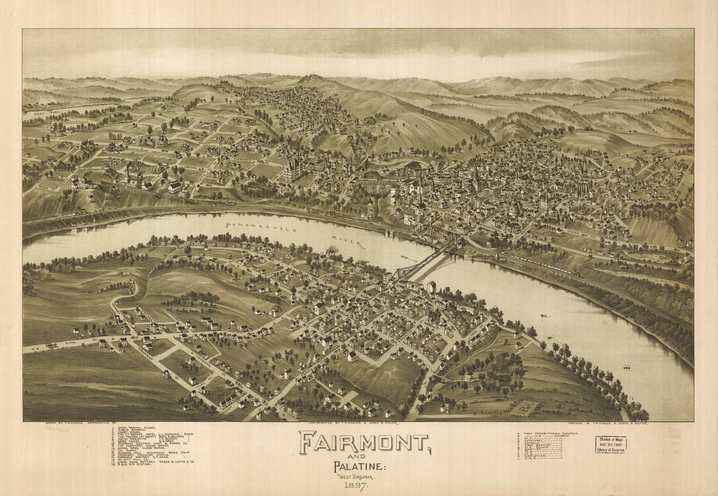 8 x 12 Reproduced Photo of Vintage Old Perspective Birds Eye View Map or Drawing of: Fairmont and Palatine, West Virginia 1897. Fowler, T. M. (Thaddeus Mortimer), 1842-1922.Moyer, James B. 1897