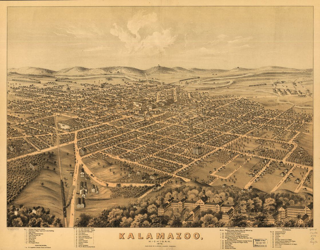 8 x 12 Reproduced Photo of Vintage Old Perspective Birds Eye View Map or Drawing of: Kalamazoo, Michigan 1874. Ruger, A. 1874