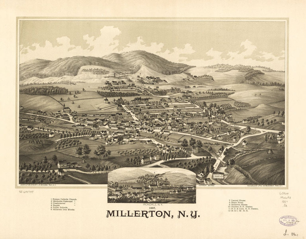 8 x 12 Reproduced Photo of Vintage Old Perspective Birds Eye View Map or Drawing of: 1887 Millerton, N.Y. Burleigh, L. R. (Lucien R.) - Burleigh Litho - Burleigh, L. R. 1887