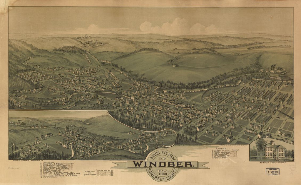 8 x 12 Reproduced Photo of Vintage Old Perspective Birds Eye View Map or Drawing of: Windber, Pa. Somerset County 1900.  Fowler, T. M. - Moyer, James - Fowler, T. M.  1900