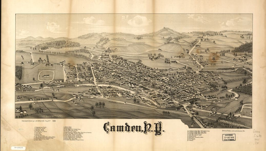 8 x 12 Reproduced Photo of Vintage Old Perspective Birds Eye View Map or Drawing of: Camden, N.Y.  Burleigh, L. R. (Lucien R.) - Beck & Pauli - Burleigh, L. R.  1885