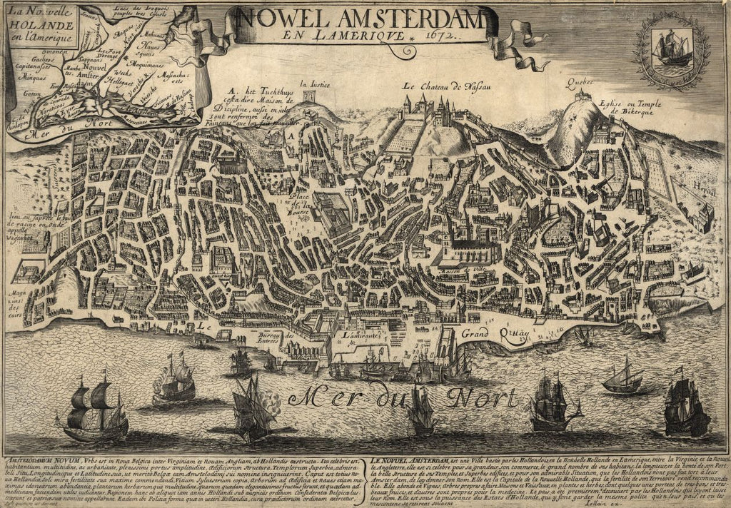 8 x 12 Reproduced Photo of Vintage Old Perspective Birds Eye View Map or Drawing of: Nowel Amsterdam en Lameriqve : 1672 Jollain, G_rard 1672