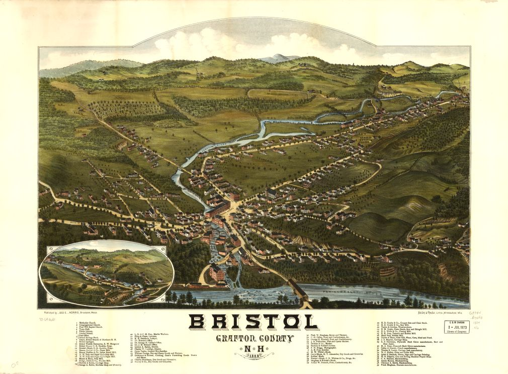8 x 12 Reproduced Photo of Vintage Old Perspective Birds Eye View Map or Drawing of: Bristol, Grafton County, N.H. 1884.  Norris, George E. - Beck & Pauli  1884
