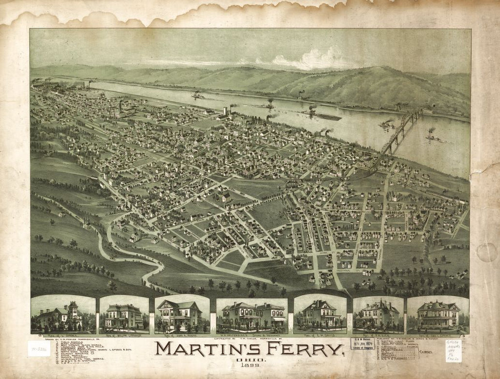 8 x 12 Reproduced Photo of Vintage Old Perspective Birds Eye View Map or Drawing of: Martin's Ferry, Ohio 1899 Fowler, T. M. (Thaddeus Mortimer), 1899