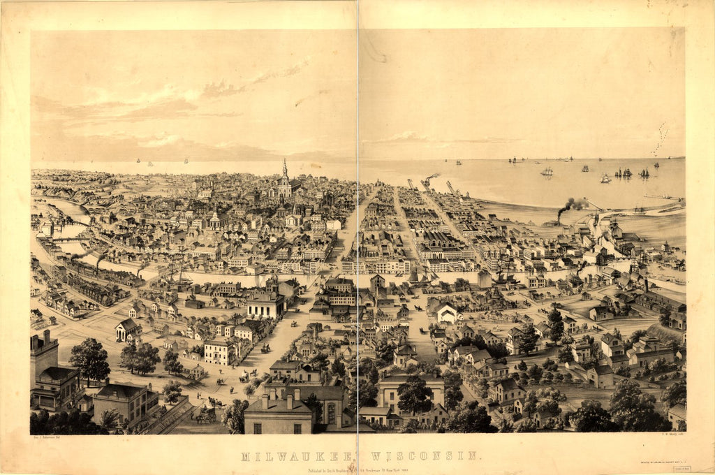 8 x 12 Reproduced Photo of Vintage Old Perspective Birds Eye View Map or Drawing of: Milwaukee, Wisconsin / Geo. J. Robertson del. ; D.W. Moody lith Moody, David William 1854