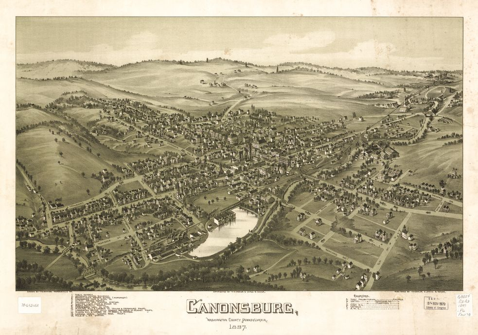 8 x 12 Reproduced Photo of Vintage Old Perspective Birds Eye View Map or Drawing of: Canonsburg, Washington County, Pennsylvania 1897 Fowler, T. M. - Moyer, James - Fowler, T. M. 1897