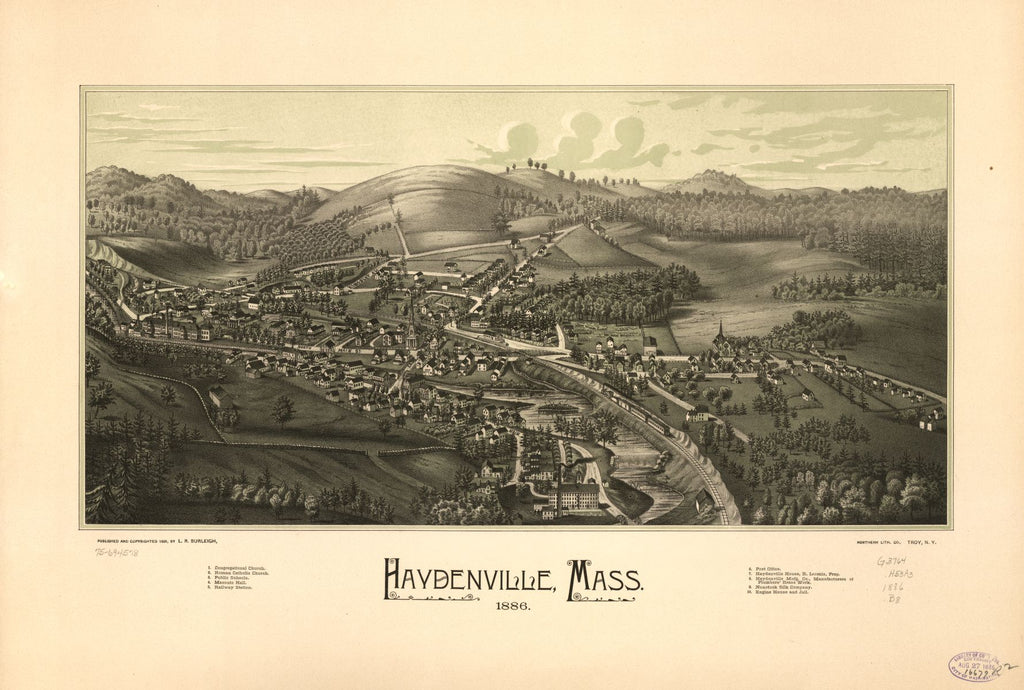 8 x 12 Reproduced Photo of Vintage Old Perspective Birds Eye View Map or Drawing of: Haydenville, Mass. 1886.   Burleigh, L. R. (Lucien R.) - Northern Lith. Co. - Burleigh, L. R.  1886