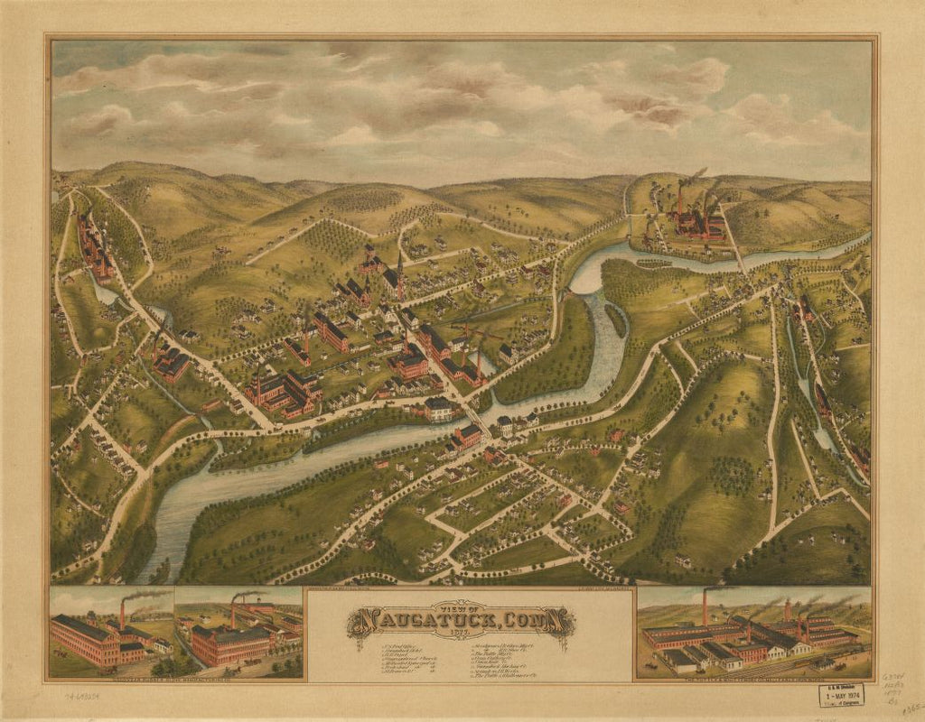 8 x 12 Reproduced Photo of Vintage Old Perspective Birds Eye View Map or Drawing of: Naugatuck, Conn. 1877.  O.H. Bailey & Co. - C.H. Vogt (Firm)  1877