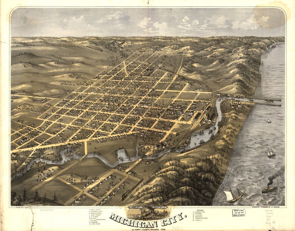 8 x 12 Reproduced Photo of Vintage Old Perspective Birds Eye View Map or Drawing of: Michigan City, La Porte County, Indiana 1869. Ruger, A. 1869
