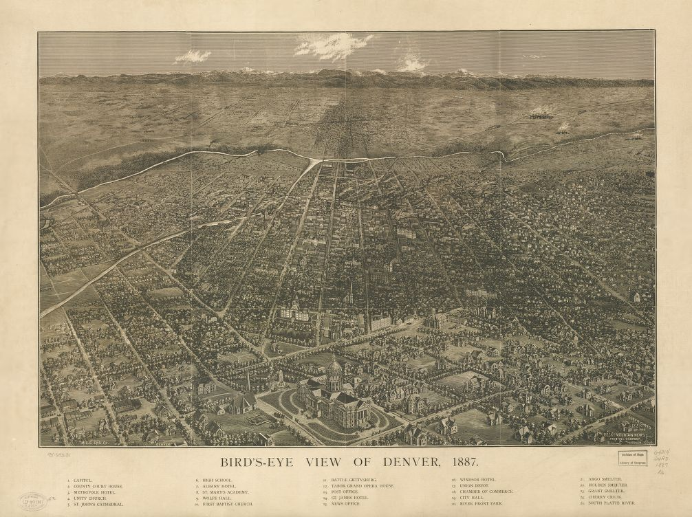 8 x 12 Reproduced Photo of Vintage Old Perspective Birds Eye View Map or Drawing of: Bird's-eye Denver, 1887. Rocky Mountain News, Denver. c1887