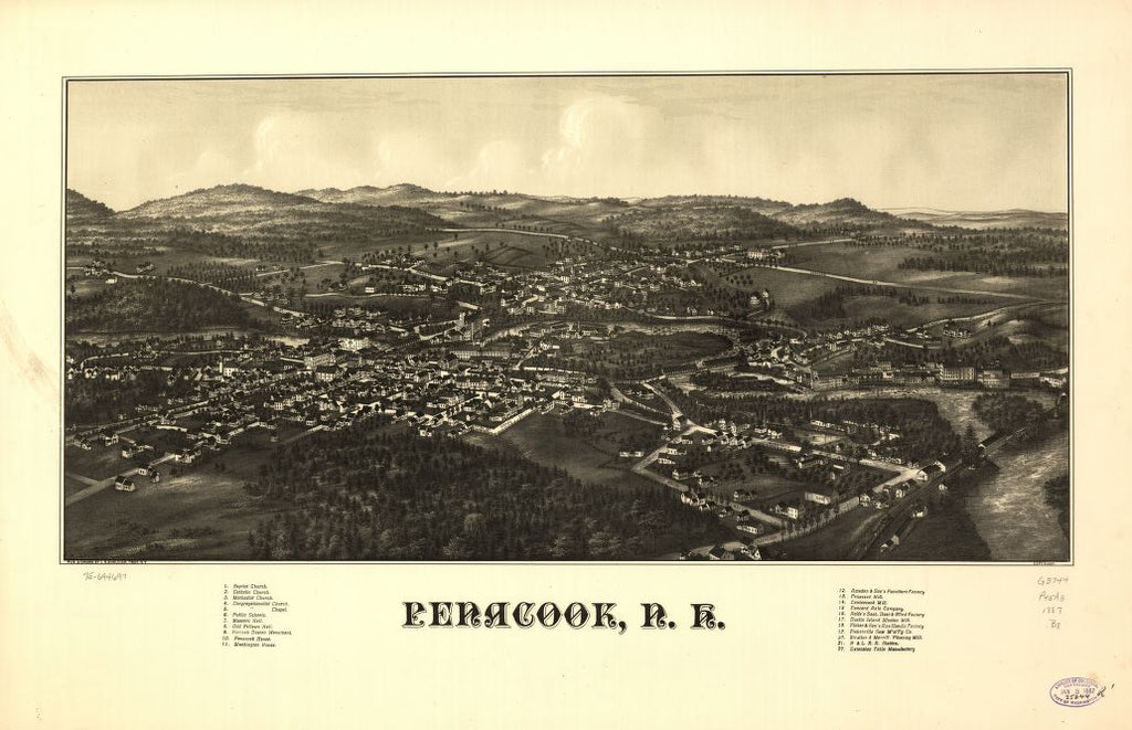 8 x 12 Reproduced Photo of Vintage Old Perspective Birds Eye View Map or Drawing of: Penacook, N.H.  Burleigh, L. R. (Lucien R.) - Burleigh, L. R.  1887