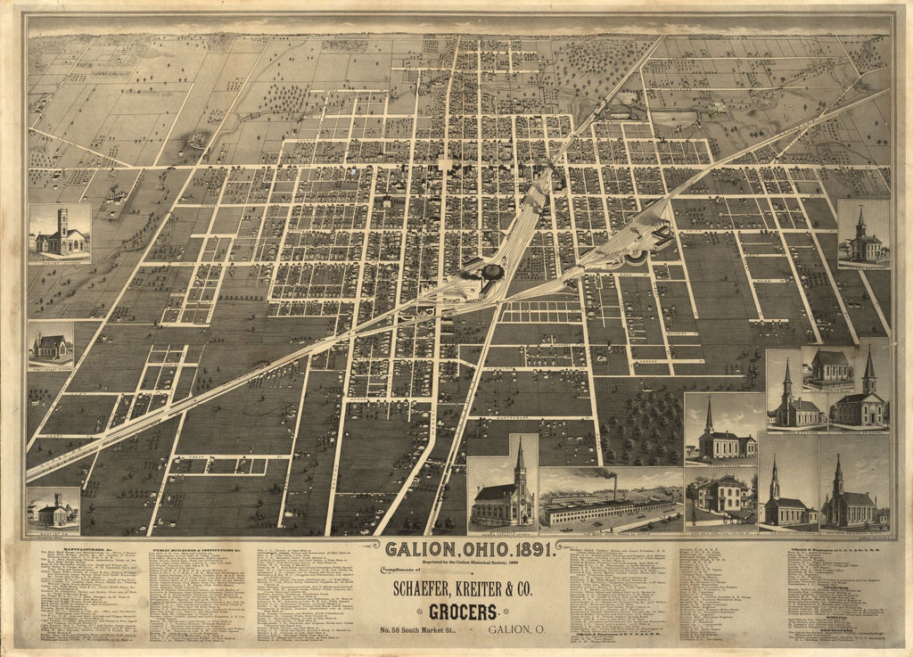 8 x 12 Reproduced Photo of Vintage Old Perspective Birds Eye View Map or Drawing of: Galion, Ohio, 1891 Smith & Buckingham. 1989