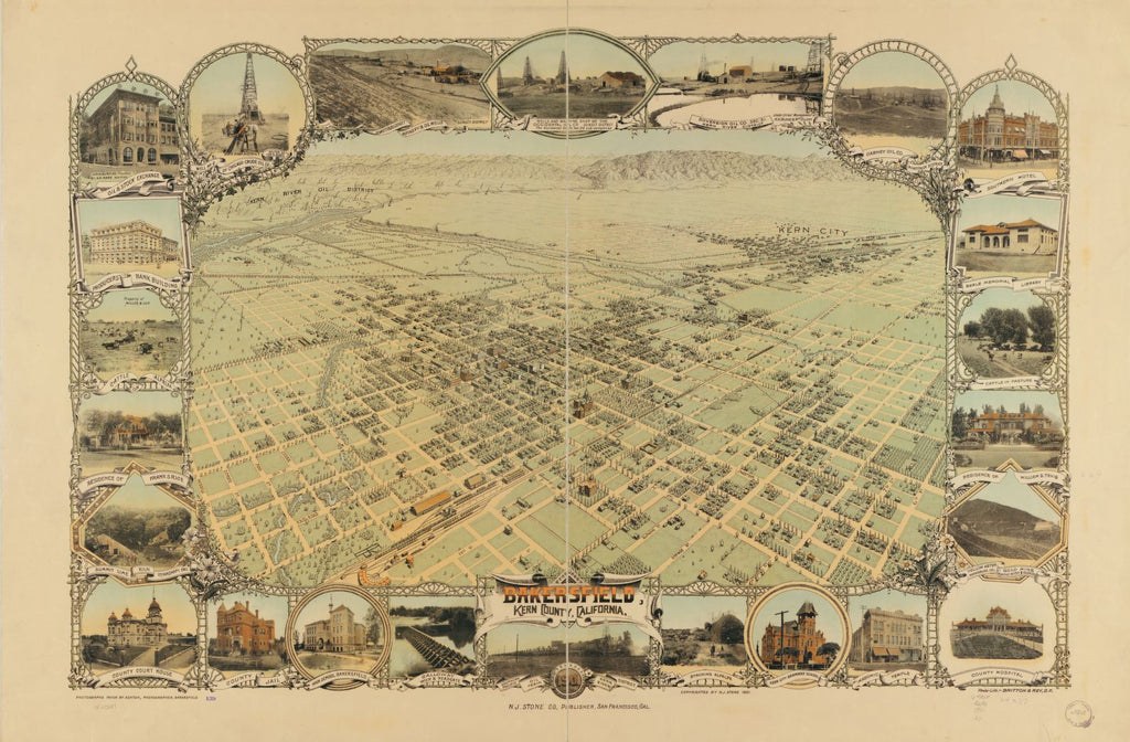8 x 12 Reproduced Photo of Vintage Old Perspective Birds Eye View Map or Drawing of: Bakersfield, Kern County, California, 1901. Stone (N.J.) Company. c1901