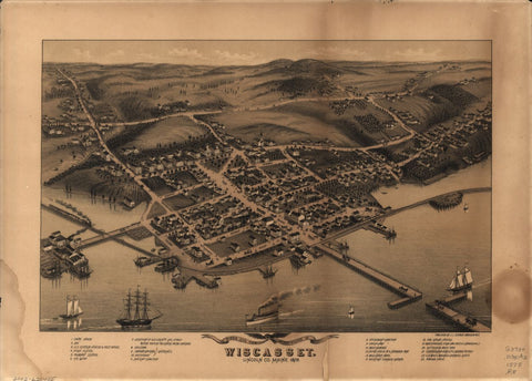8 x 12 Reproduced Photo of Vintage Old Perspective Birds Eye View Map or Drawing of: Wiscasset, Lincoln Co., Maine, 1878  Ruger, A. - Stoner, J. J.  1878
