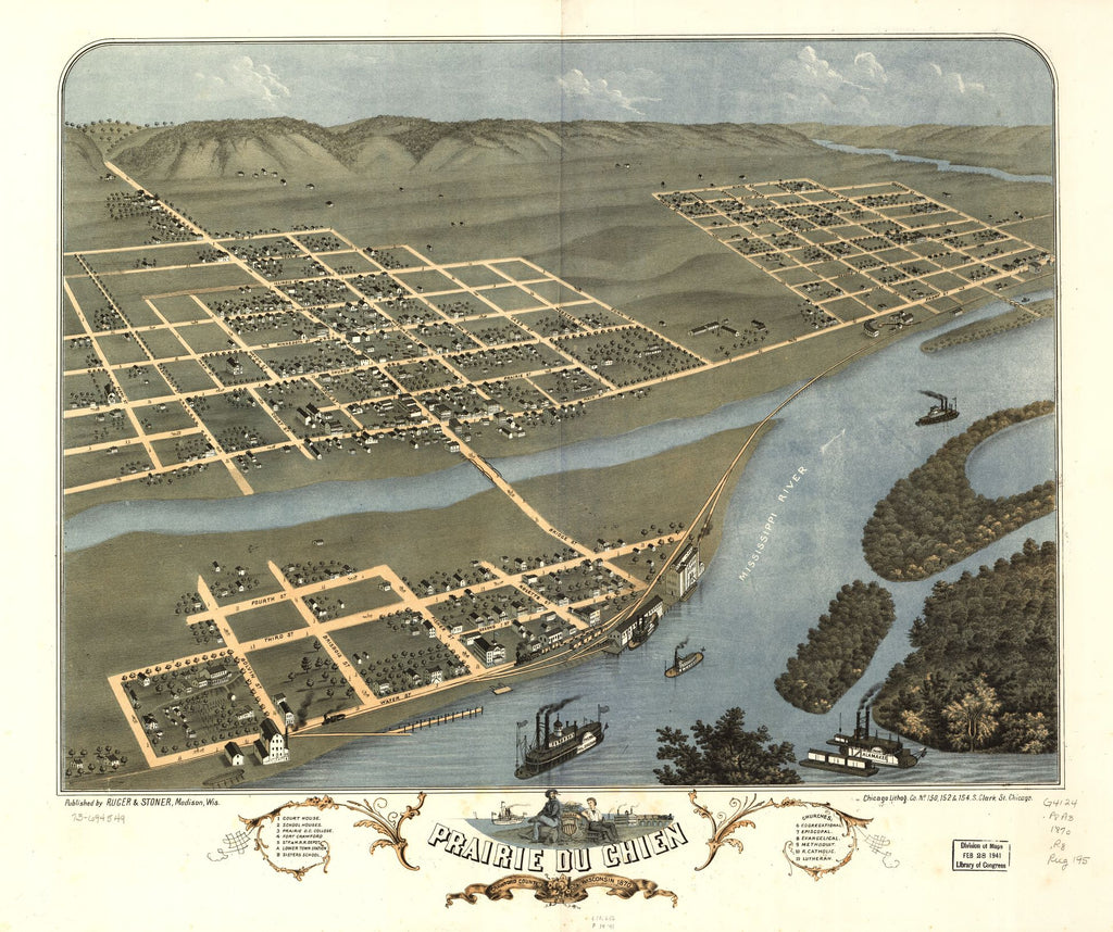8 x 12 Reproduced Photo of Vintage Old Perspective Birds Eye View Map or Drawing of: Prairie du Chien, Crawford County, Wisconsin 1870. [Ruger, A.] 1870