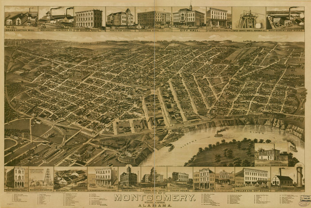 8 x 12 Reproduced Photo of Vintage Old Perspective Birds Eye View Map or Drawing of: Montgomery, State capital of Alabama. Wellge, H. (Henry)Beck & Pauli.Henry Wellge & Co. 1887
