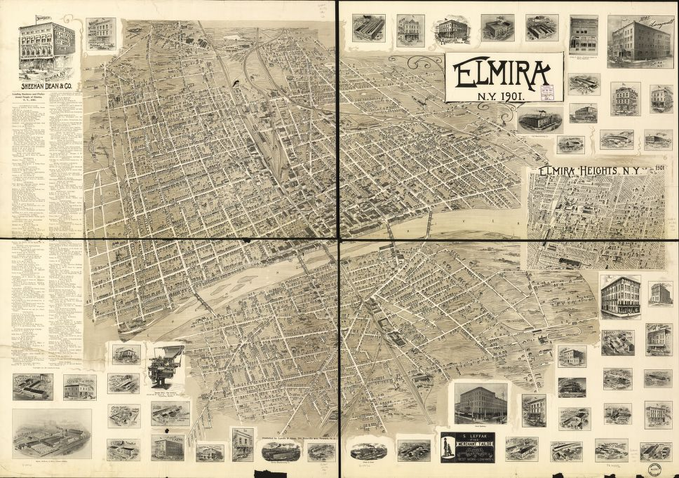 8 x 12 Reproduced Photo of Vintage Old Perspective Birds Eye View Map or Drawing of: Elmira, N.Y. 1901.  Landis & Alsop  1901