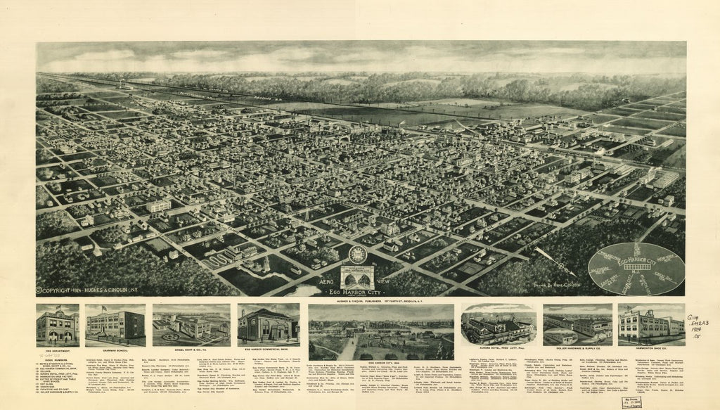 8 x 12 Reproduced Photo of Vintage Old Perspective Birds Eye View Map or Drawing of: Egg Harbor City, New Jersey. Cinquin, Rene - Hughes & Cinquin 1924