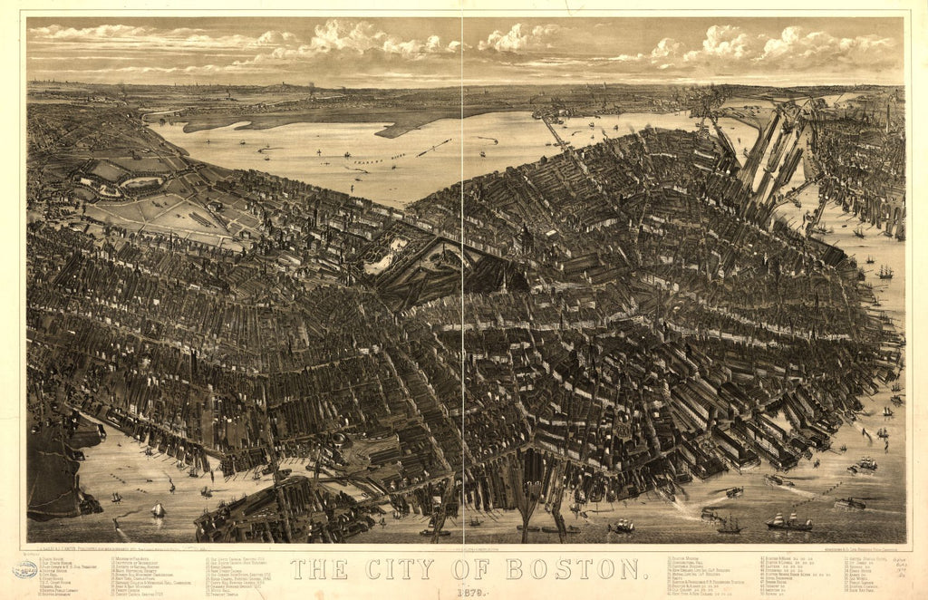 8 x 12 Reproduced Photo of Vintage Old Perspective Birds Eye View Map or Drawing of: Boston 1879.  Bailey, O. H. (Oakley Hoopes) - Hazen, J. C. - Armstrong & Co. (Boston, Mass.) - Riverside Press (Cambridge, Mass.) - Bailey, O. H.  1877