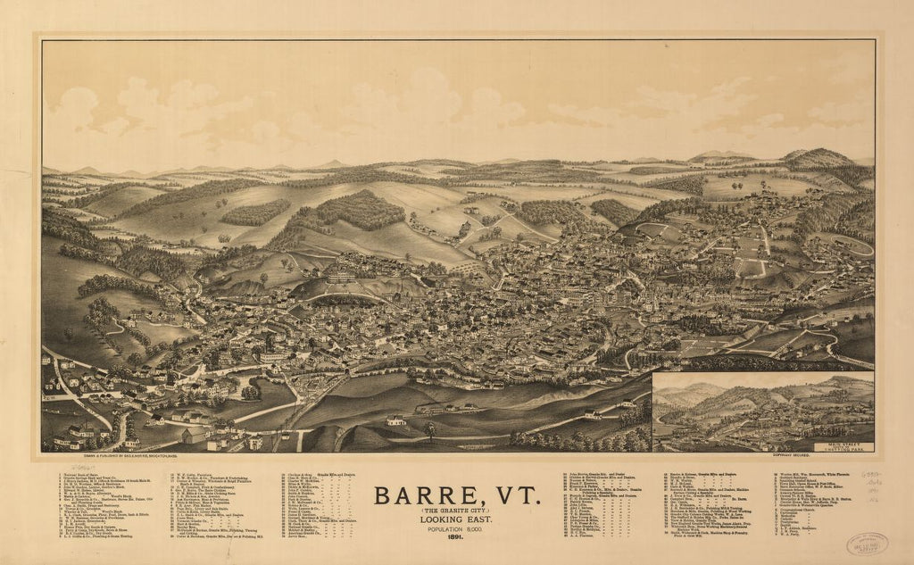 8 x 12 Reproduced Photo of Vintage Old Perspective Birds Eye View Map or Drawing of: Barre, Vt. (the Granite City) 1891.  Norris, George E.  1891