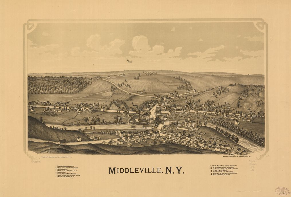 8 x 12 Reproduced Photo of Vintage Old Perspective Birds Eye View Map or Drawing of: Middleville, N.Y. Burleigh, L. R. (Lucien R.) - Burleigh Litho - Burleigh, L. R. 1890
