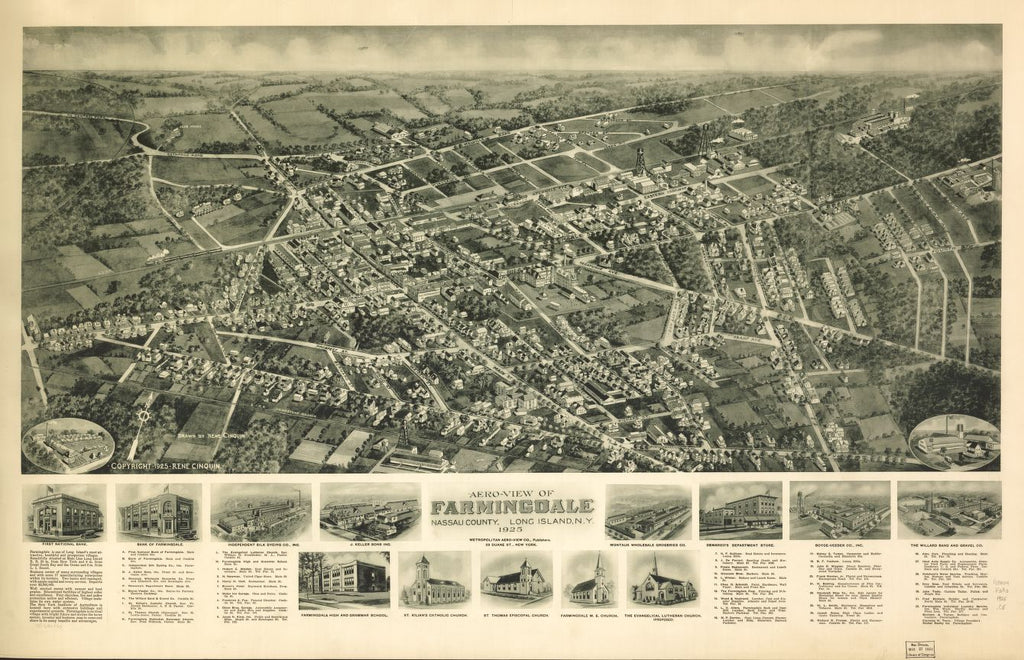 8 x 12 Reproduced Photo of Vintage Old Perspective Birds Eye View Map or Drawing of: Farmingdale, Nassau County, Long Island, N.Y. 1925.  Cinquin, Rene - Metropolitan Aero-View Co.  1925