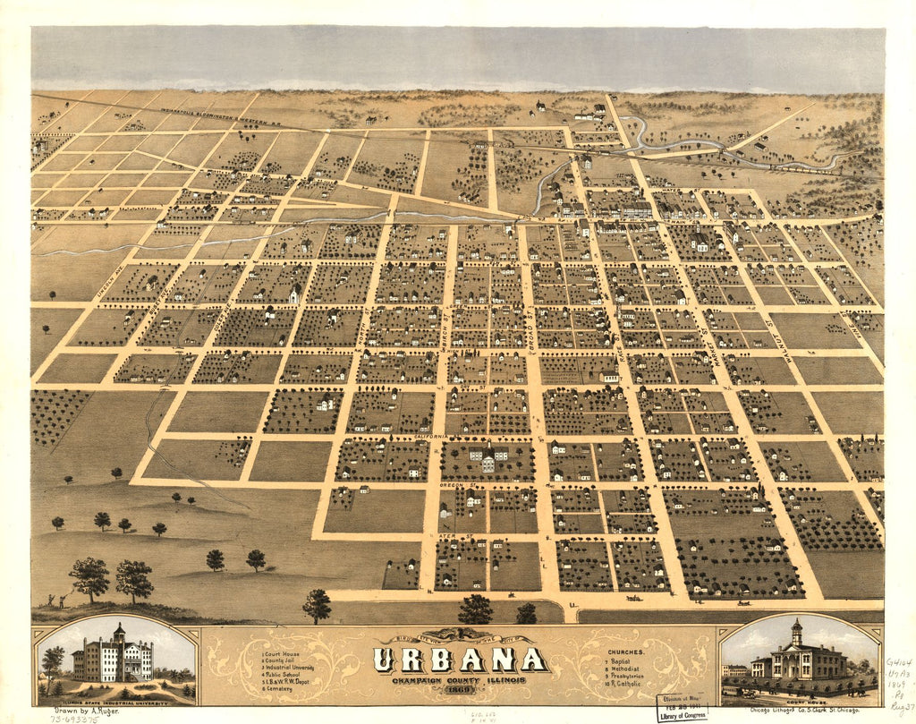 8 x 12 Reproduced Photo of Vintage Old Perspective Birds Eye View Map or Drawing of: Urbana, Champaign County, Illinois 1869. Ruger, A. 1869