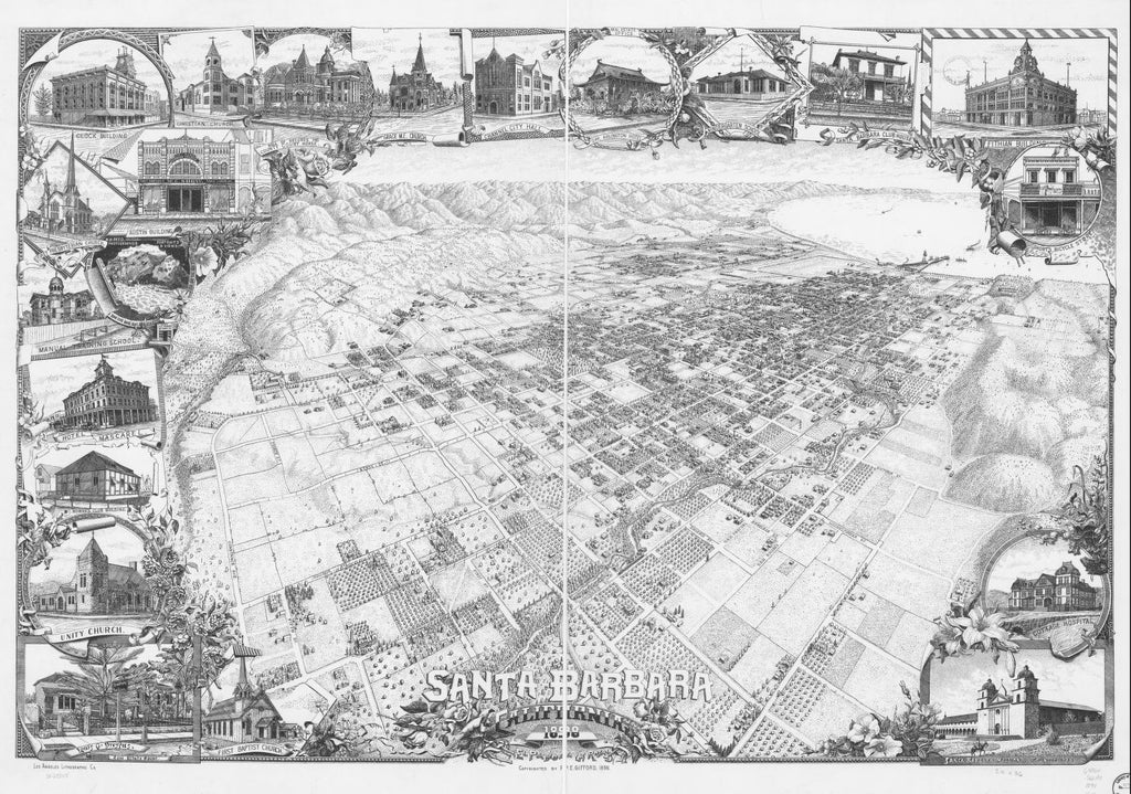 8 x 12 Reproduced Photo of Vintage Old Perspective Birds Eye View Map or Drawing of: Santa Barbara, California 1898. Gifford, P. E. c1898
