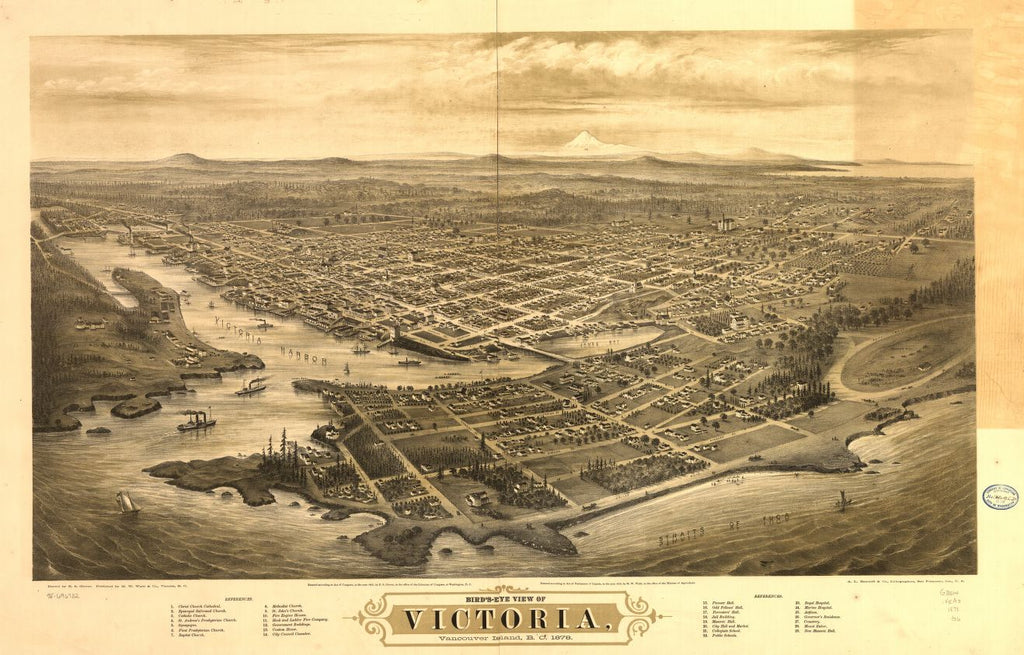 8 x 12 Reproduced Photo of Vintage Old Perspective Birds Eye View Map or Drawing of: Bird's-eye Victoria, Vancouver Island, B.C. 1878.  Glover, E. S. (Eli Sheldon) - A.L. Bancroft & Company - Waitt (M.W.) & Co. - Glover, E. S.  1878