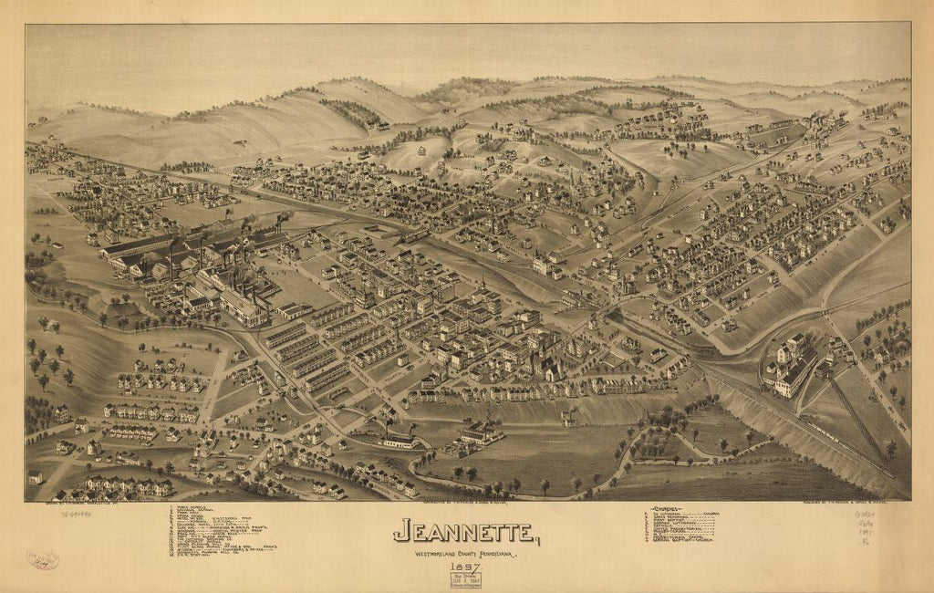 8 x 12 Reproduced Photo of Vintage Old Perspective Birds Eye View Map or Drawing of: Jeannette, Westmoreland County, Pennsylvania, 1897. Fowler, T. M. - Moyer, James - Fowler, T. M. 1897