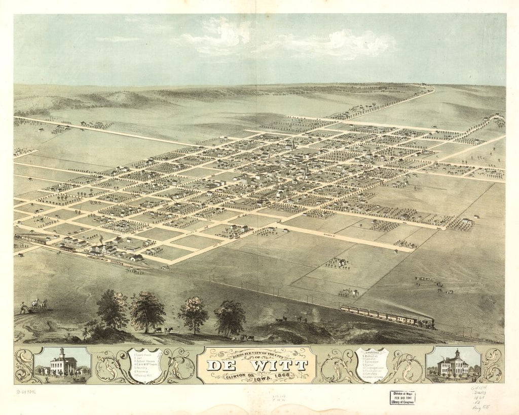 8 x 12 Reproduced Photo of Vintage Old Perspective Birds Eye View Map or Drawing of: De Witt, Clinton Co., Iowa 1868. Ruger, A. 1868