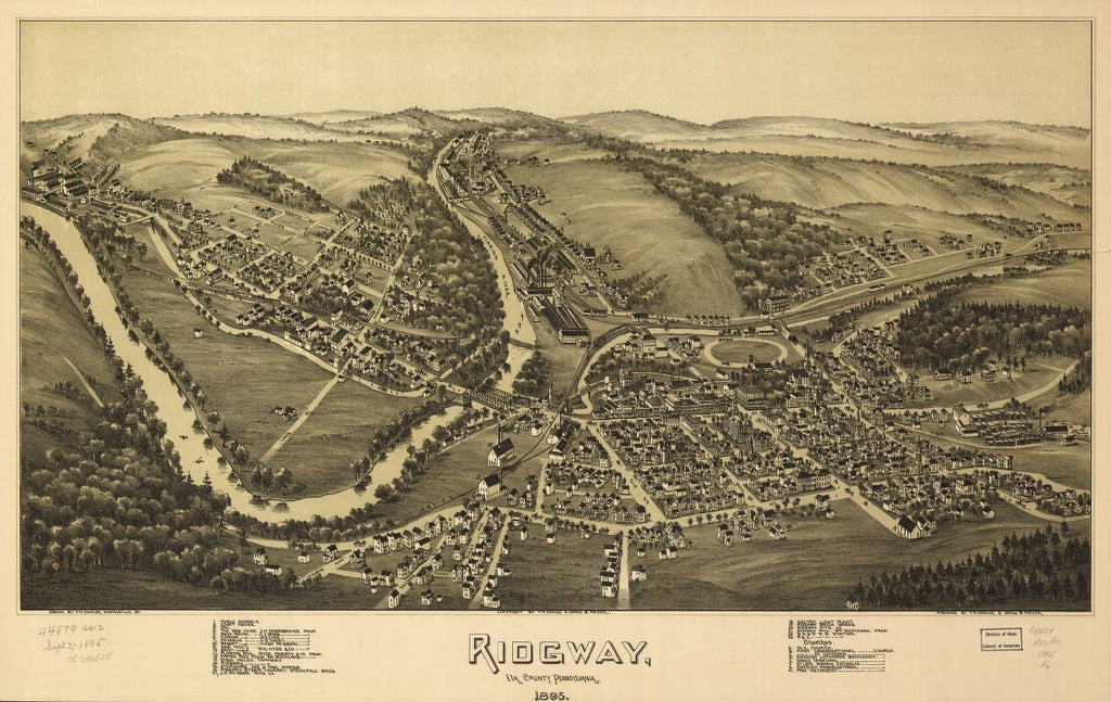 8 x 12 Reproduced Photo of Vintage Old Perspective Birds Eye View Map or Drawing of: Ridgway, Elk County, Pennsylvania, 1895Moyer, James B. Moyer, James B 1895