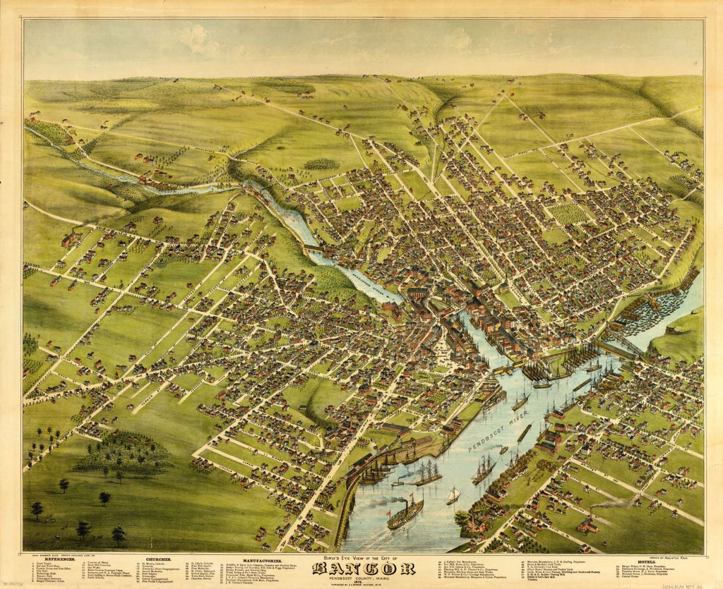 8 x 12 Reproduced Photo of Vintage Old Perspective Birds Eye View Map or Drawing of: Bangor, Penobscot County, Maine, 1875  Koch, Augustus - Stoner, J. J.  1875