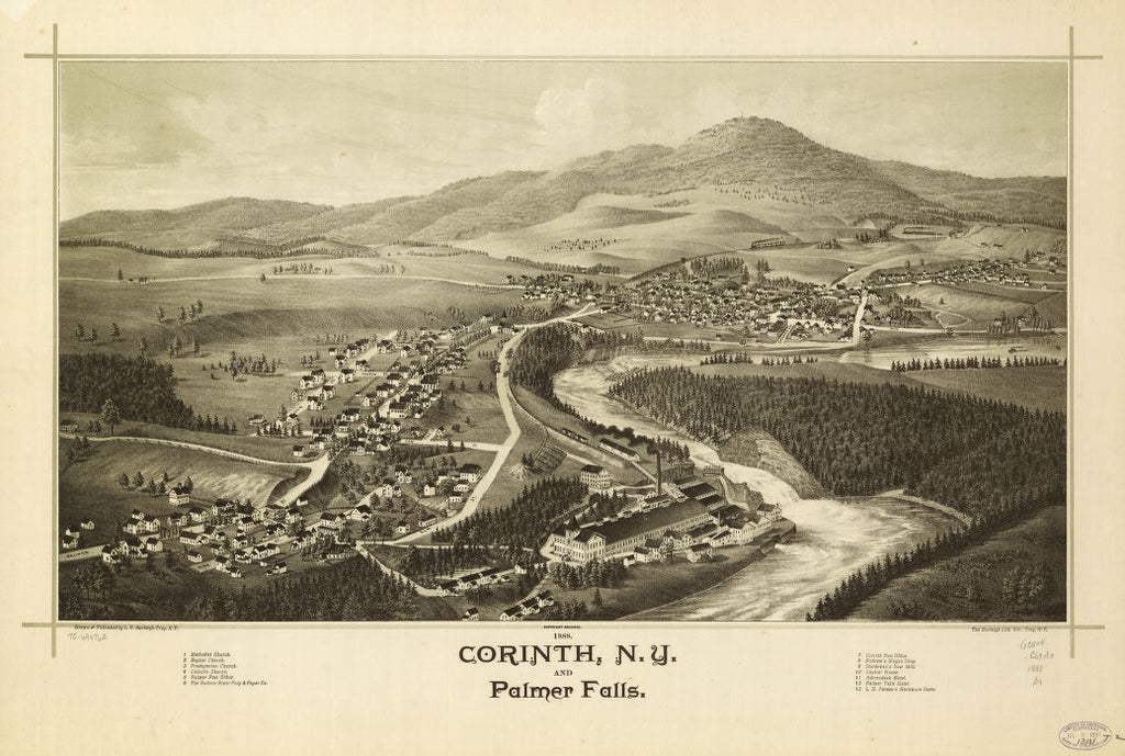 8 x 12 Reproduced Photo of Vintage Old Perspective Birds Eye View Map or Drawing of: 1888 Corinth, N.Y. and Palmer Falls.   Burleigh, L. R. (Lucien R.) - Burleigh Litho - Burleigh, L. R.  1888