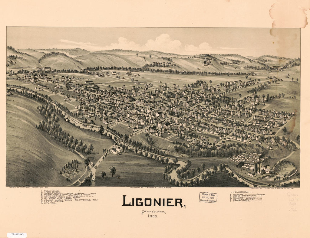 8 x 12 Reproduced Photo of Vintage Old Perspective Birds Eye View Map or Drawing of: Ligonier, Pennsylvania. Fowler, T. M. - Moyer, James 1900