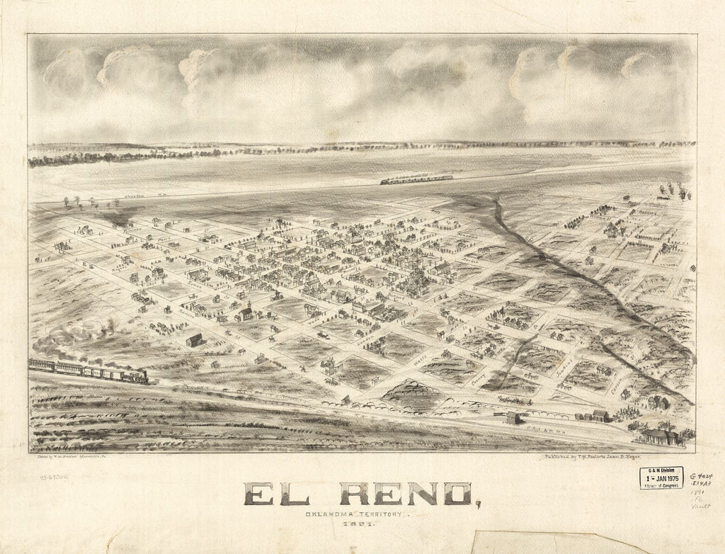 8 x 12 Reproduced Photo of Vintage Old Perspective Birds Eye View Map or Drawing of: El Reno, Oklahoma Territory 1891. Fowler, T. M. (Thaddeus Mortimer), 1842-1922.Moyer, James B. 1891