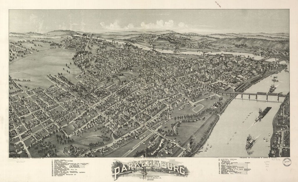 8 x 12 Reproduced Photo of Vintage Old Perspective Birds Eye View Map or Drawing of: Parkersburg, West Virginia 1899. Fowler, T. M. (Thaddeus Mortimer), 1842-1922.Moyer, James B. 1899