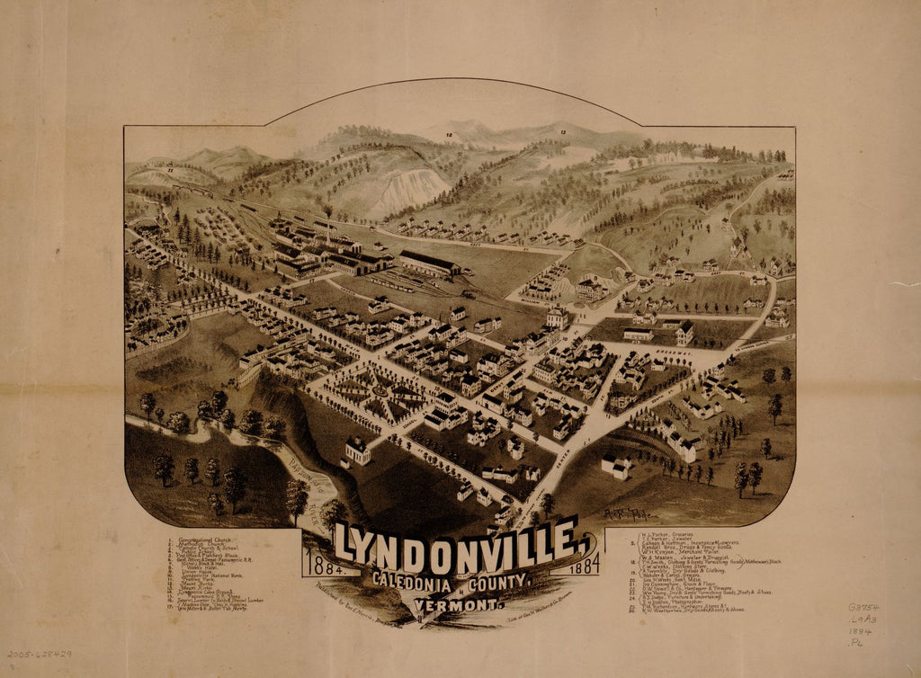 8 x 12 Reproduced Photo of Vintage Old Perspective Birds Eye View Map or Drawing of: Lyndonville, Caledonia County, Vermont, 1884.   Poole, A. F. - Norris, George E. - Geo. H. Walker & Co.  1884