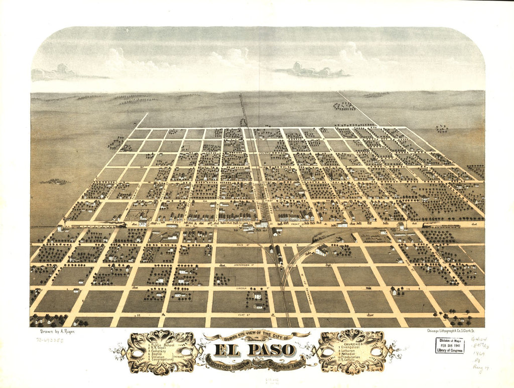8 x 12 Reproduced Photo of Vintage Old Perspective Birds Eye View Map or Drawing of: El Paso, Woodford County, Illinois 1869. Ruger, A. 1869