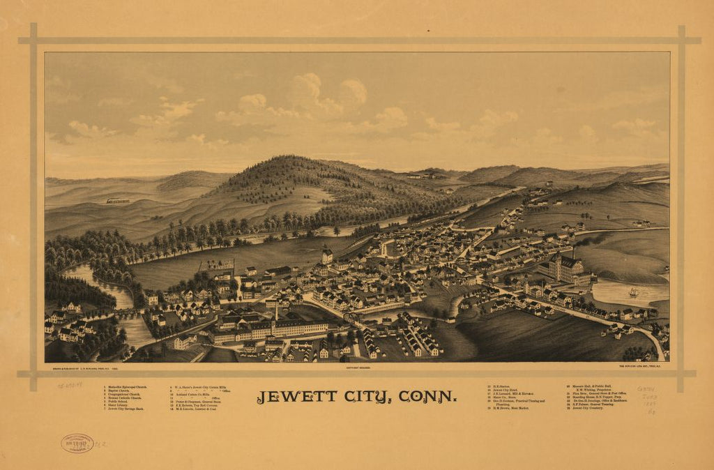 8 x 12 Reproduced Photo of Vintage Old Perspective Birds Eye View Map or Drawing of: Jewett City, Conn.  Burleigh, L. R. (Lucien R.) - Burleigh Litho - Burleigh, L. R.  1889