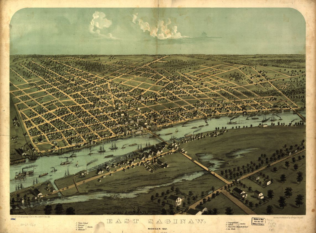 8 x 12 Reproduced Photo of Vintage Old Perspective Birds Eye View Map or Drawing of: East Saginaw, Michigan, 1867 Ruger, A. 1867