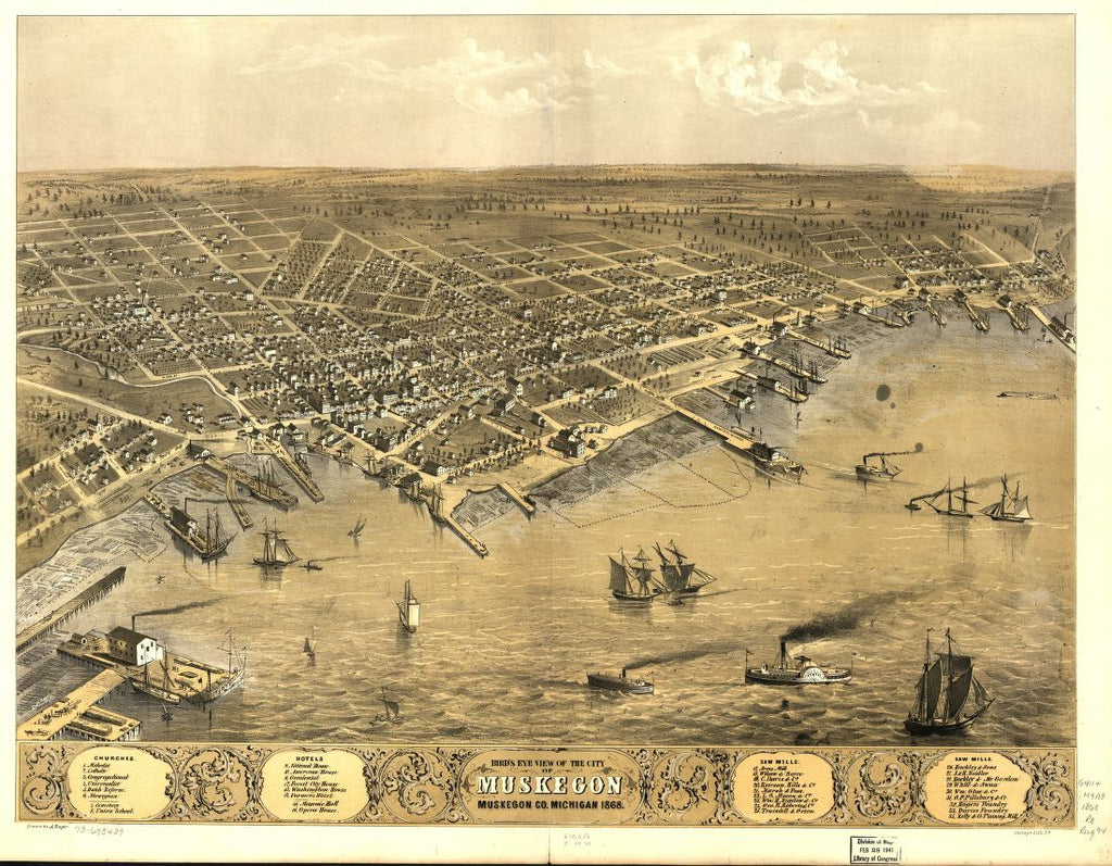 8 x 12 Reproduced Photo of Vintage Old Perspective Birds Eye View Map or Drawing of: Muskegon, Muskegon Co., Michigan 1868. Ruger, A. 1868