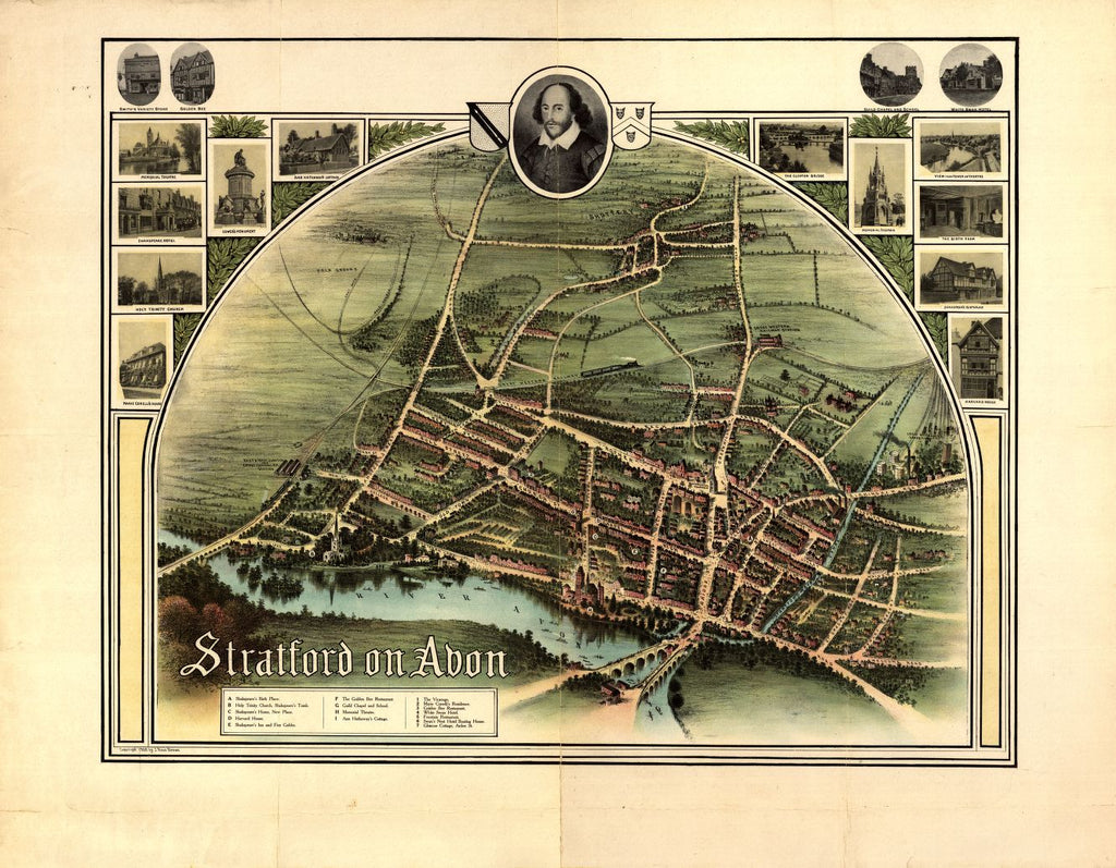 8 x 12 Reproduced Photo of Vintage Old Perspective Birds Eye View Map or Drawing of: Stratford on Avon Brown, J. Ross. 1908