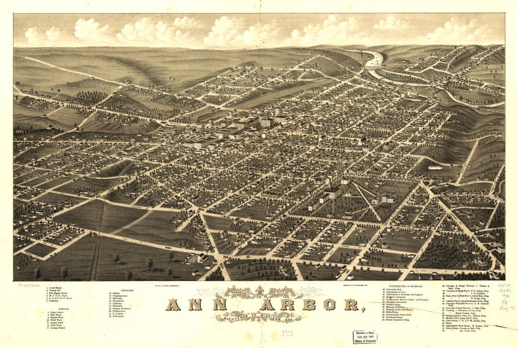 8 x 12 Reproduced Photo of Vintage Old Perspective Birds Eye View Map or Drawing of: Panoramic Ann Arbor, Washtenaw Co., Michigan 1880. Ruger, A. 1880