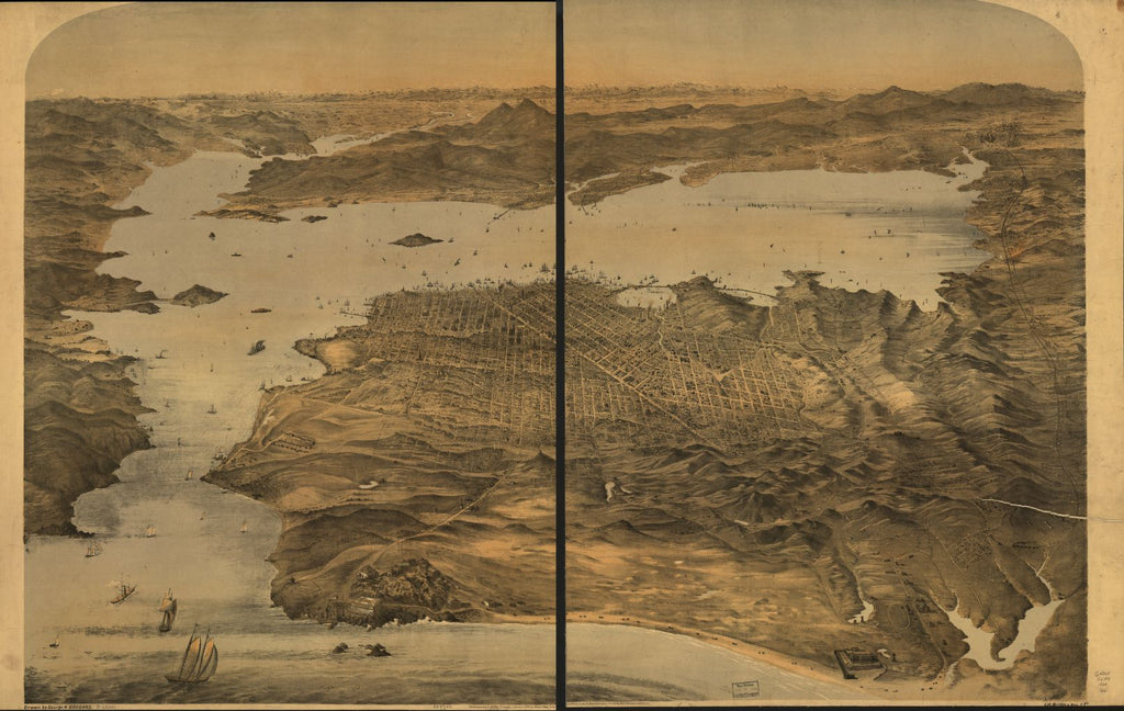8 x 12 Reproduced Photo of Vintage Old Perspective Birds Eye View Map or Drawing of: [San Francisco] Goddard, G. H. 1868