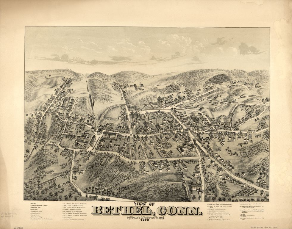 8 x 12 Reproduced Photo of Vintage Old Perspective Birds Eye View Map or Drawing of: Bethel, Conn.   O.H. Bailey & Co.  1879